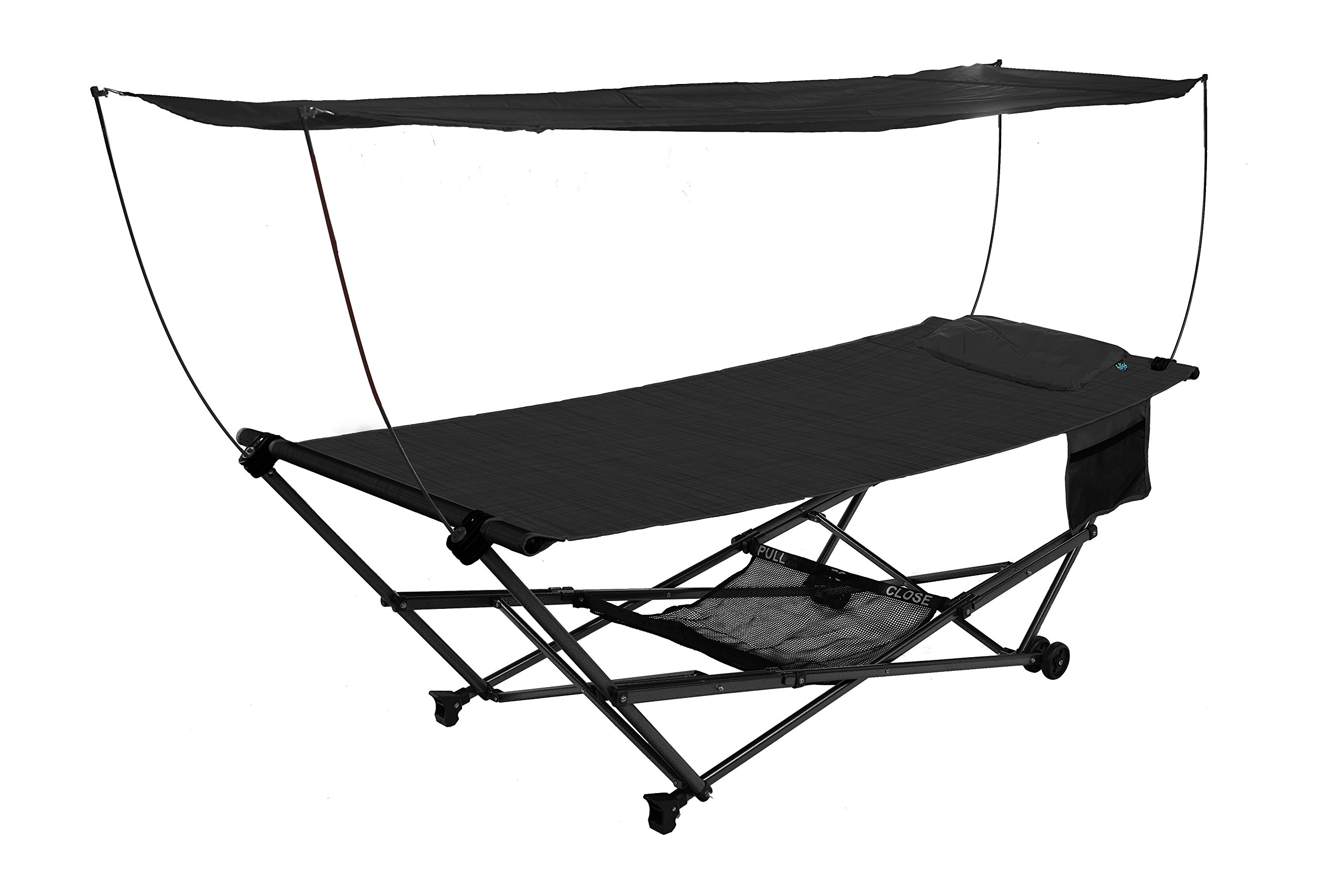 Bliss Hammocks Stow EZ Hammock & Collapsible Stand W/ Pillow & Canopy W/ Magazine & Cup Holder, Black