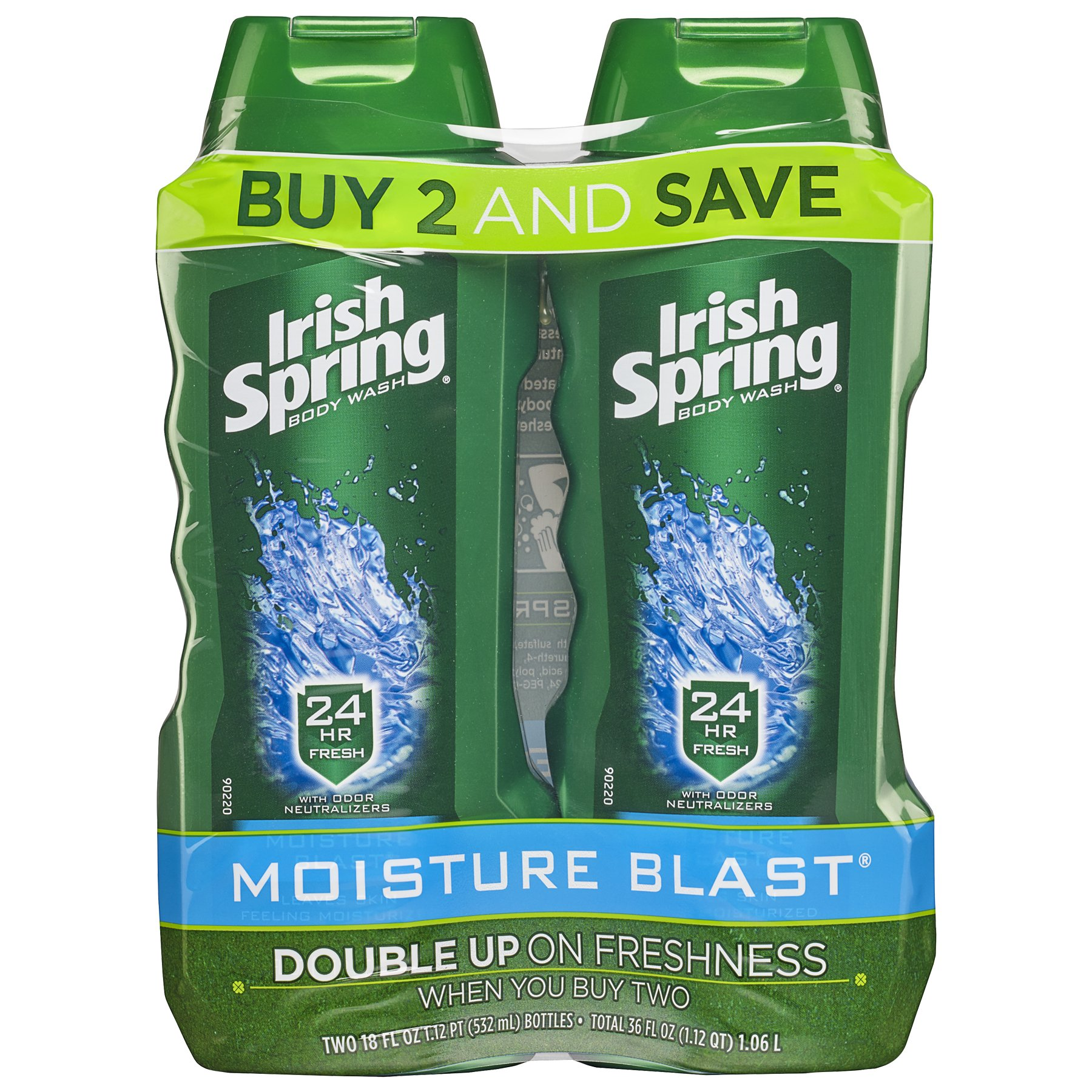 Irish Spring Moisture Blast Moisturizing Body Wash - 18 fluid ounce (2 Pack)