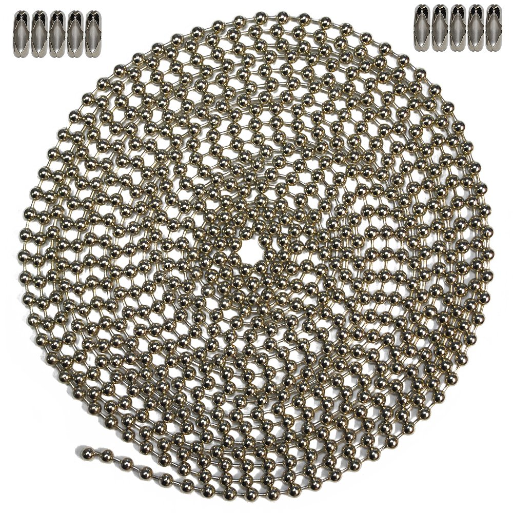Nickel Plated Steel /& 10 Matching Connectors Ball Chain Manufacturing Co Inc. Number 6 Size 10 Foot Length Ball Chain
