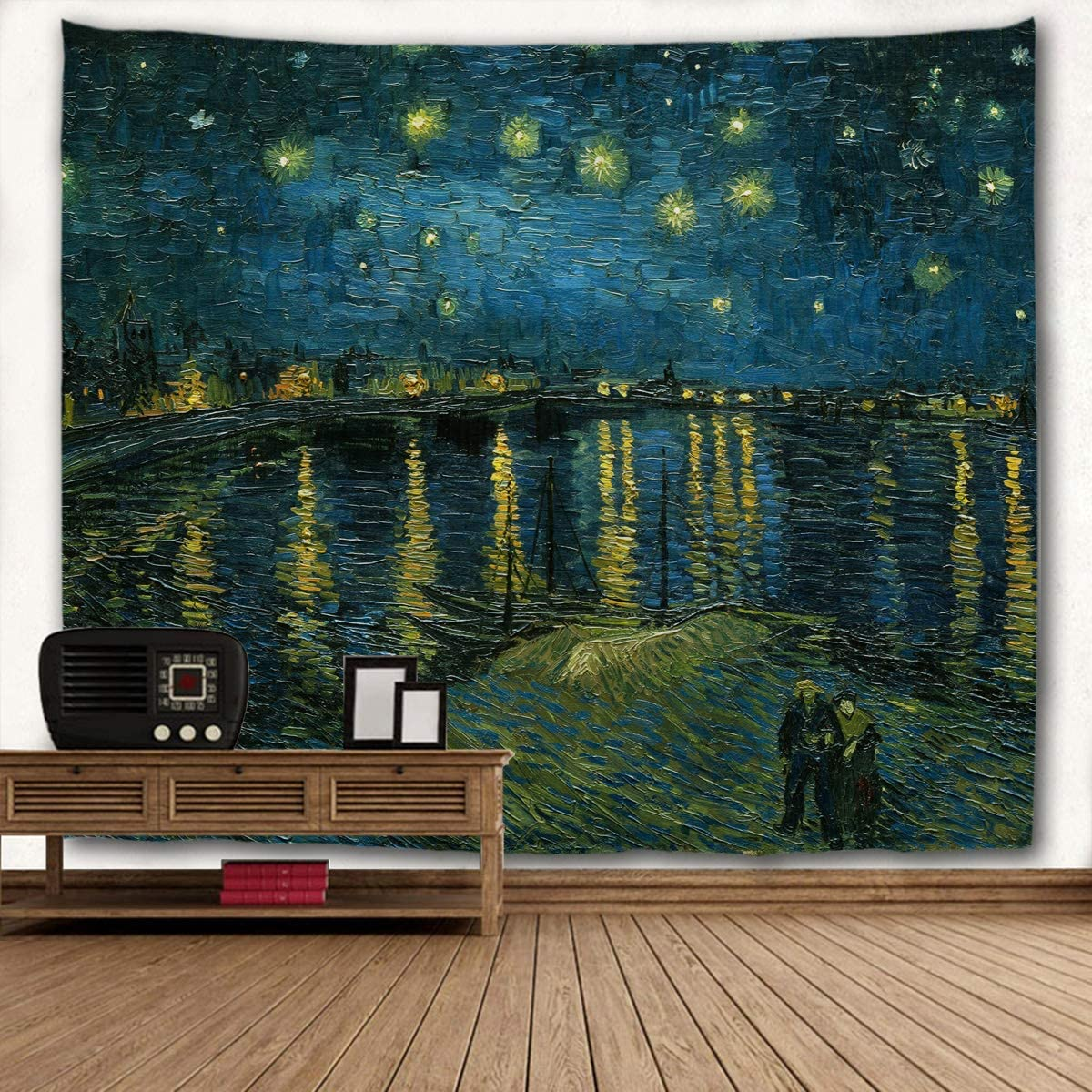 WIHVE Tapestry Van Gogh Starry Night Over The Rhone Wall Hanging Art Home Decor Polyester Tapestry for Living Room Bedroom Bathroom Kitchen Dorm 80 x 60 Inches