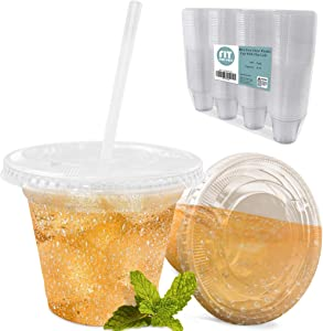[100 Pack] 9 oz Clear Plastic Cup with Lid - BPA Free Take Out Container for Iced Cold Drink Coffee Tea Juice Smoothie Bubble Boba Frappuccino, Disposable and Crack Resistant