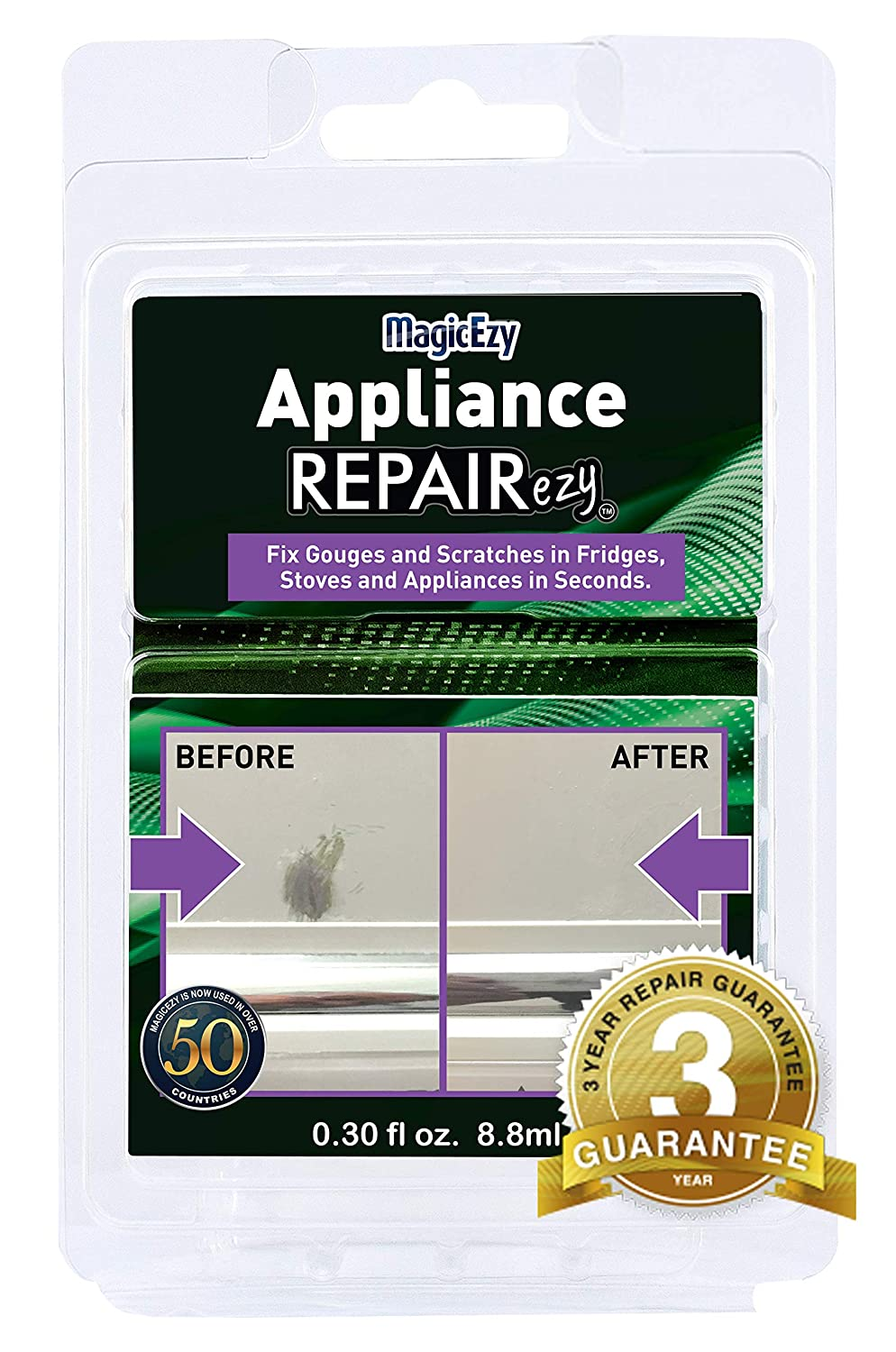 MagicEzy Appliance REPAIRezy (Black) - Appliance Touchup - Fills and Repairs Deep Chips and Scratches Fast - Virtually Undetectable