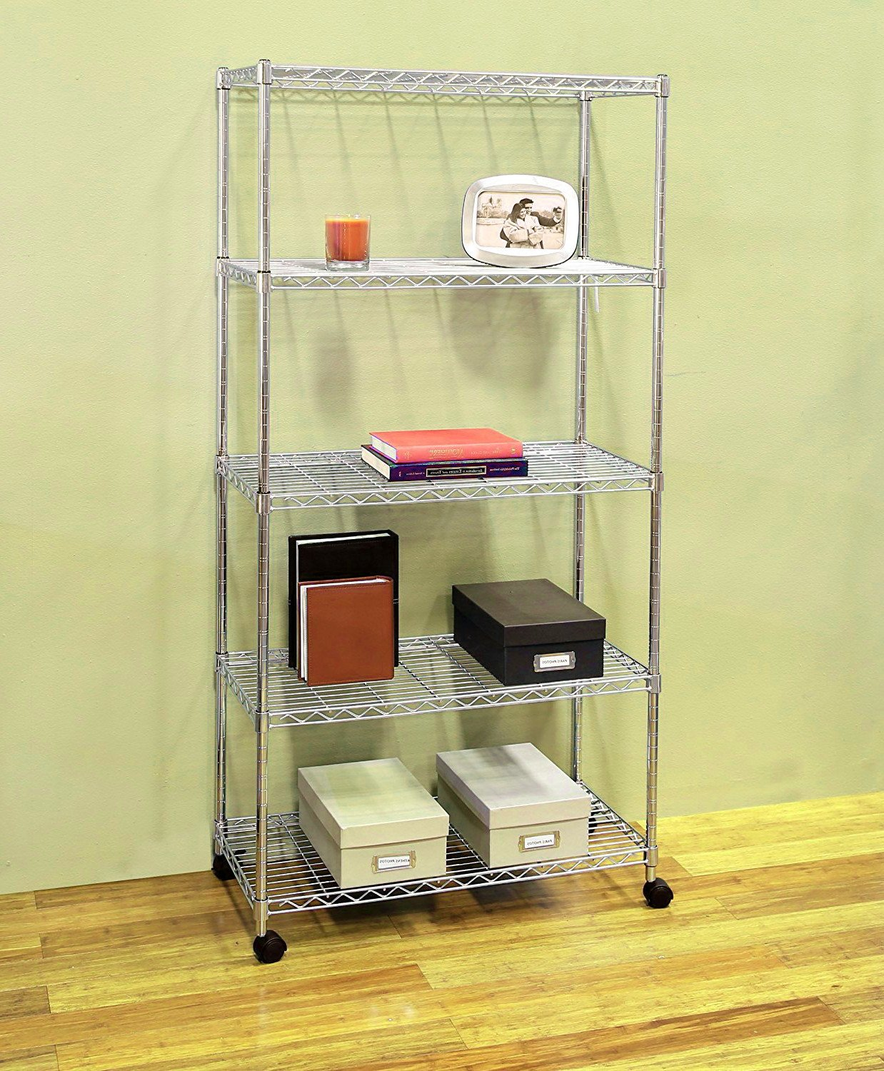 Portable Wire Shelving five Tier Rack Adjustable Chrome with Wheels. Rolling Storage Unit to Organize your Kitchen, Bathroom, Garage, Office, eBook by jn.widetrade