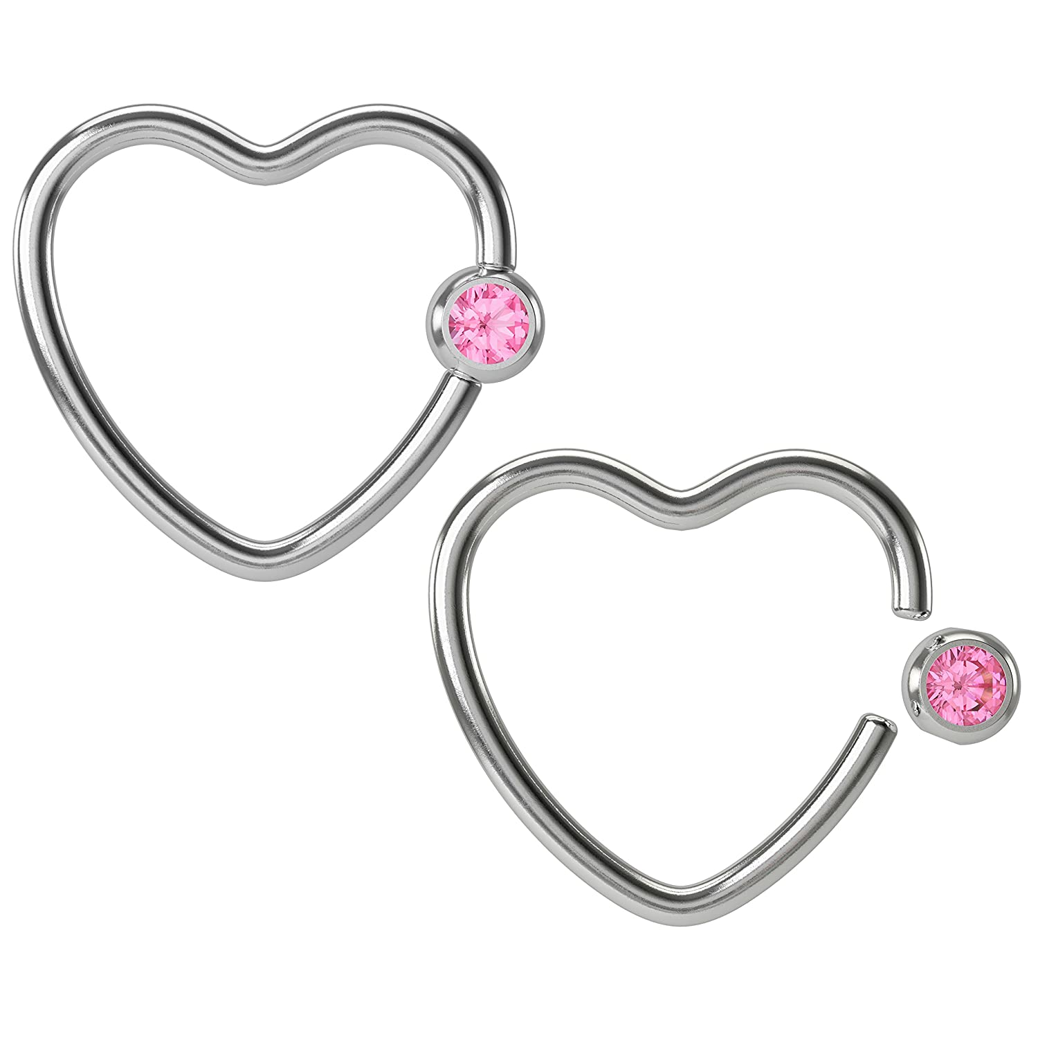 Bling Unique 2 16g Heart Captive Bead Ring Hoop Earring CBR Cartilage Daith Helix Surgical Steel Auricle Crystal