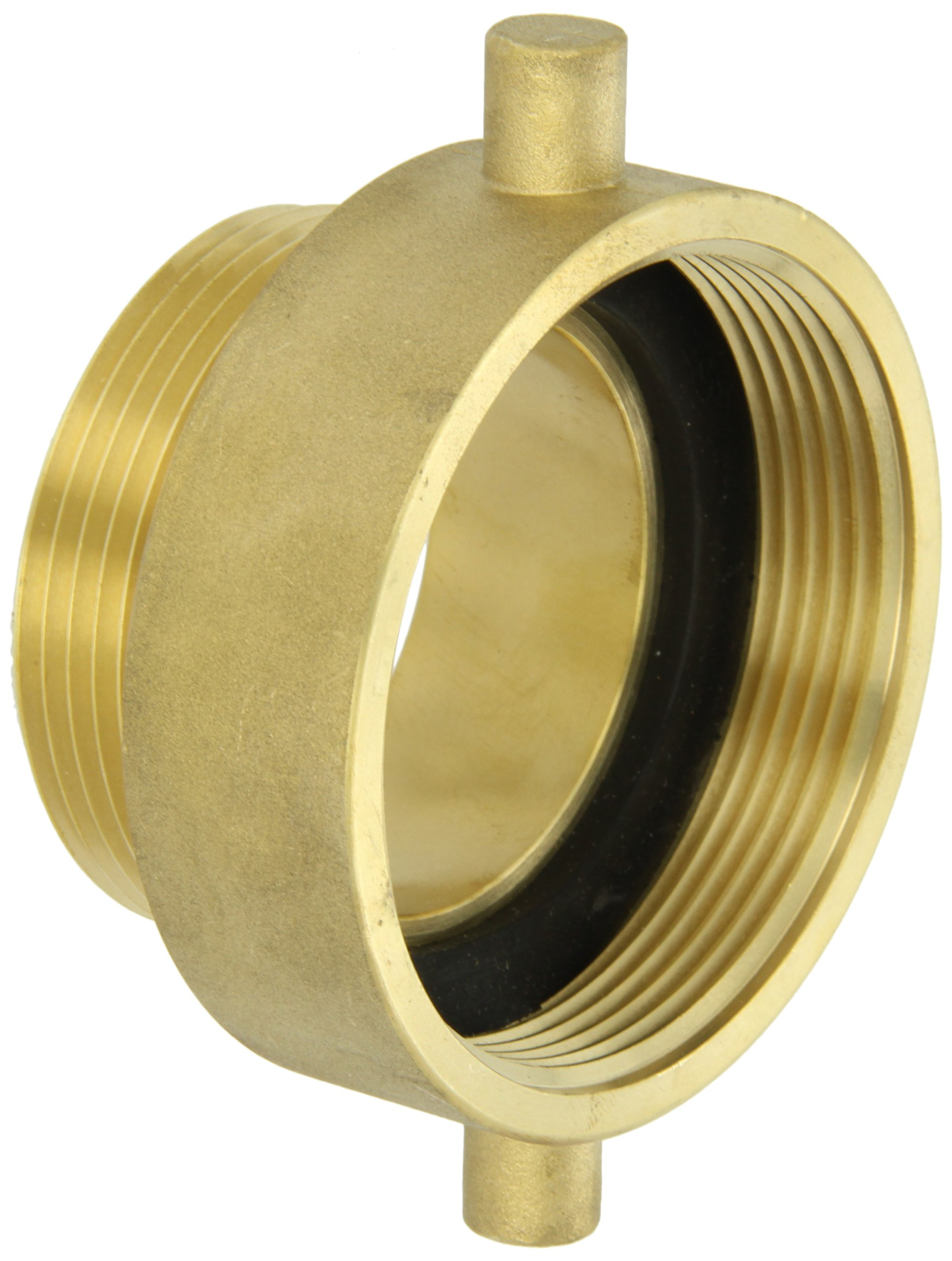 Moon 369-3022521 Brass Fire Hose Adapter, Pin Lug, 3'' NH Female x 2-1/2 NH Male