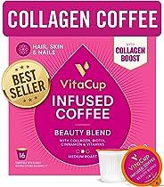 VitaCup Beauty Blend Coffee Pods 16ct | Collagen, Biotin & Cinnamon | Hair, Skin & Nail Health | Keto & Paleo Friendly | B Vi