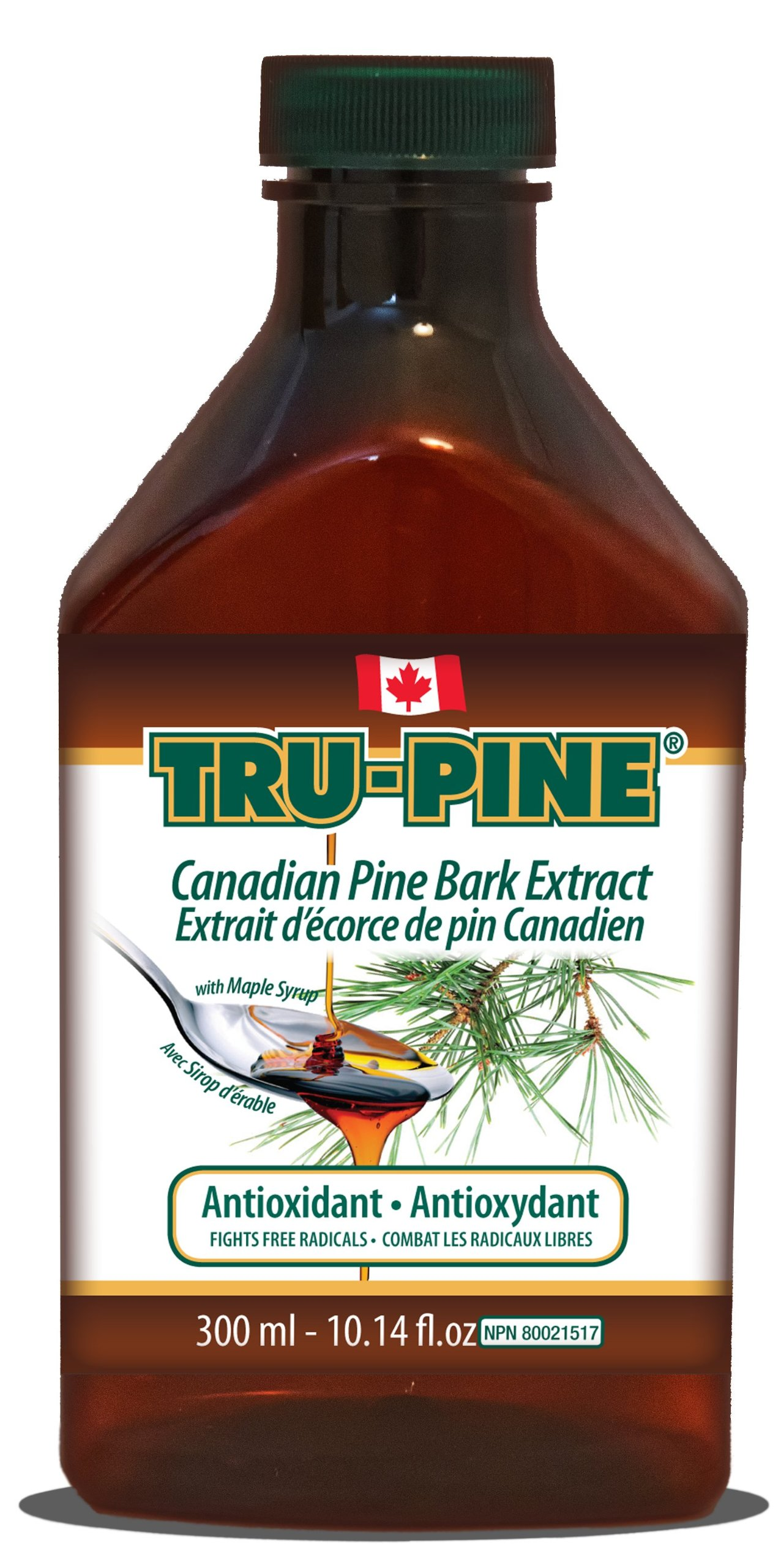 3 Bottles of TRU-PINE Antioxidant - Canadian pine bark extract liquid 10.14 oz with Delicious Maple taste