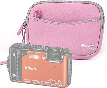 DURAGADGET Funda/Estuche De Neopreno Rosa para Cámara Sumergible Nikon Coolpix W300 + Correa De Mano: Amazon.es: Electrónica