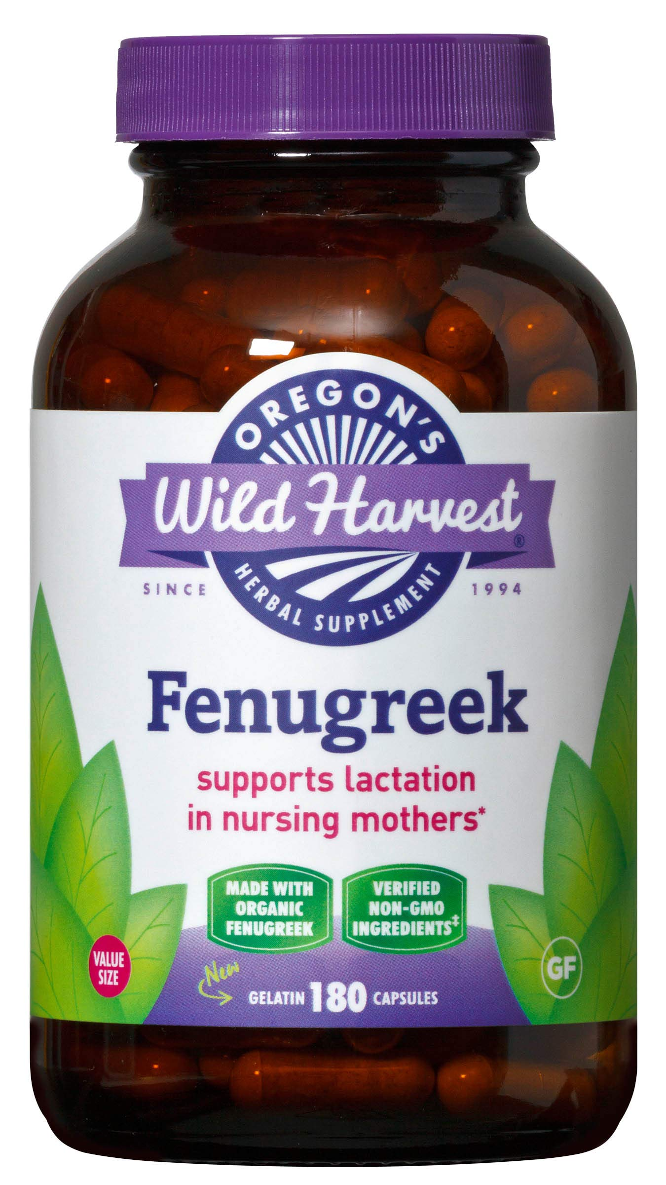 Oregon's Wild Harvest Organic Non-GMO Fenugreek Capsules, Lactation Support Herbal Supplements for Optimal Breast Milk Production, 180Count