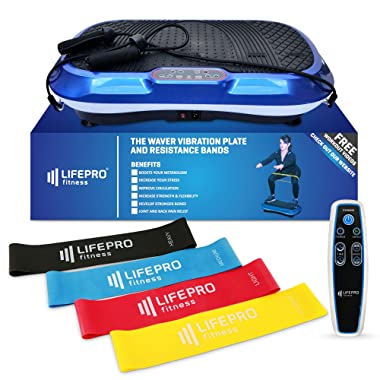 LifePro Vibration Plate Exercise Machine - Whole Body Workout Vibration Fitness Platform w/Loop Bands - Home Training Equipment for Weight Loss & Toning
