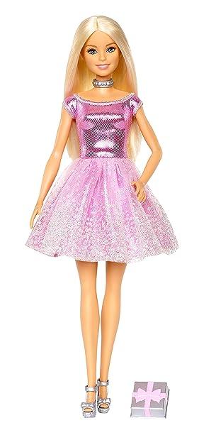 Barbie Muñeca rubia Feliz Cumpleaños con regalo (Mattel GDJ36)
