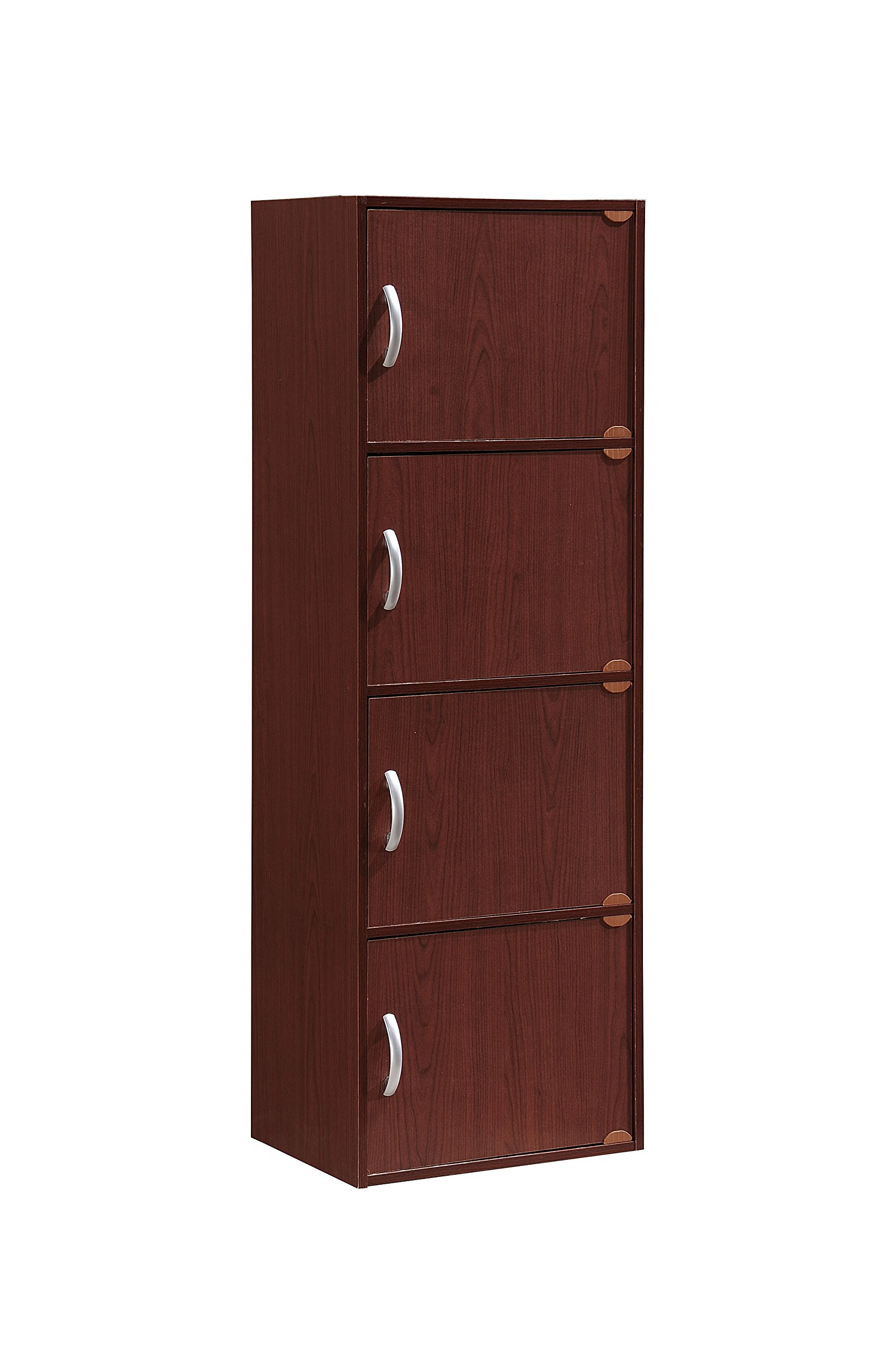 Hodedah 4 Door, Four Shleves, Enclosed Storage Cabinet, Mahogany