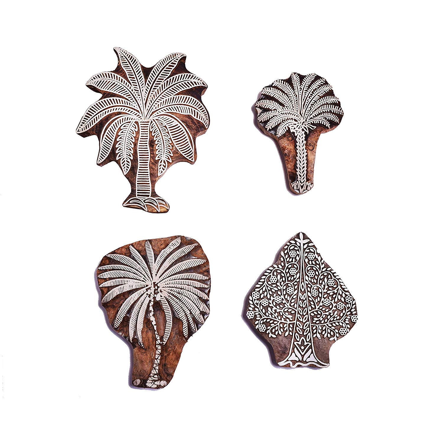 PARIJAT HANDICRAFT Tree Design Wooden Printing Stamp Block Hand-Carved for Saree Border Making Pottery Crafts Textile Printing - Set of 4