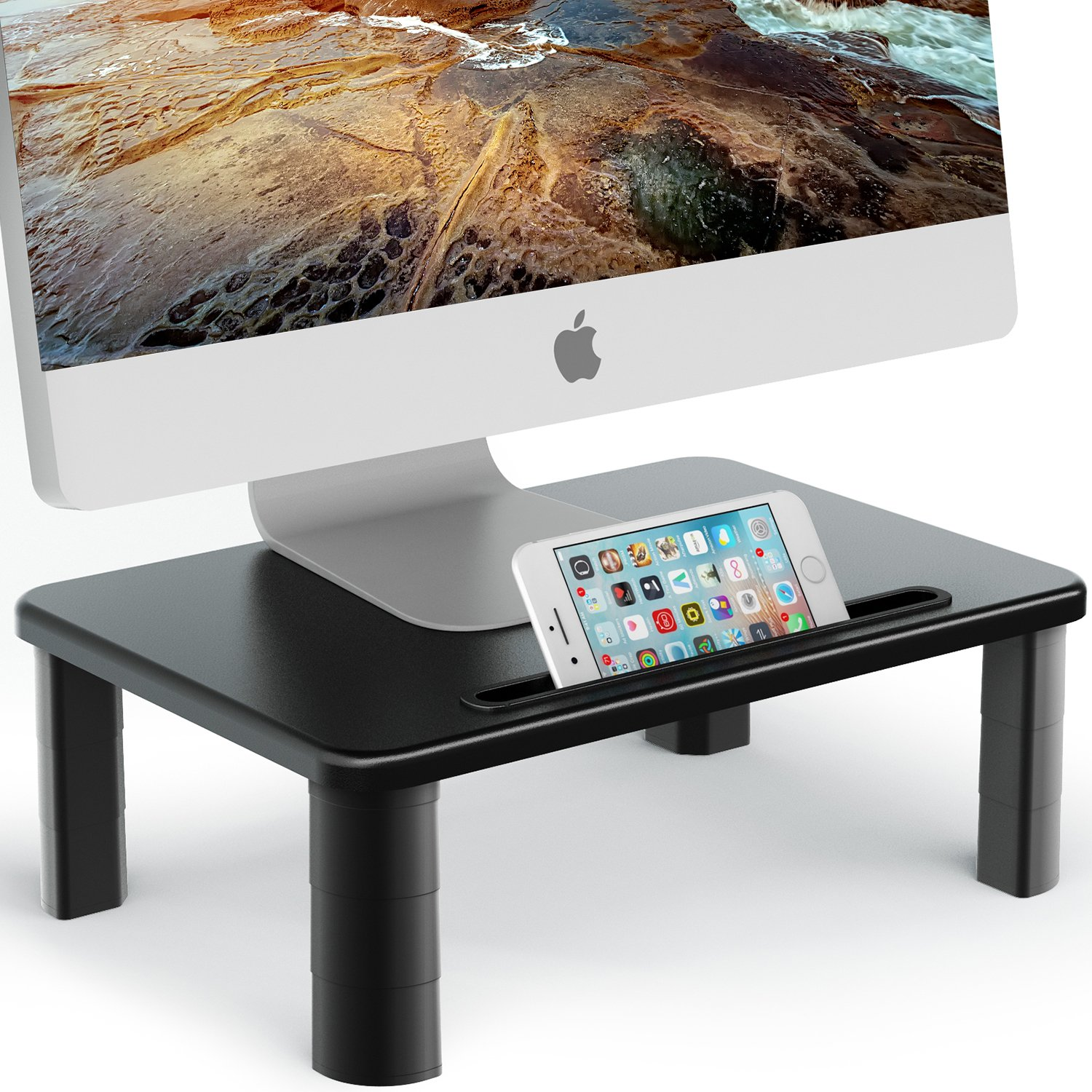 Adjustable Monitor Stand - EleTab Computer Riser Printer Stand Monitor Riser with Tablet & Phone Holder Desk Organizer by EleTab (Image #1)