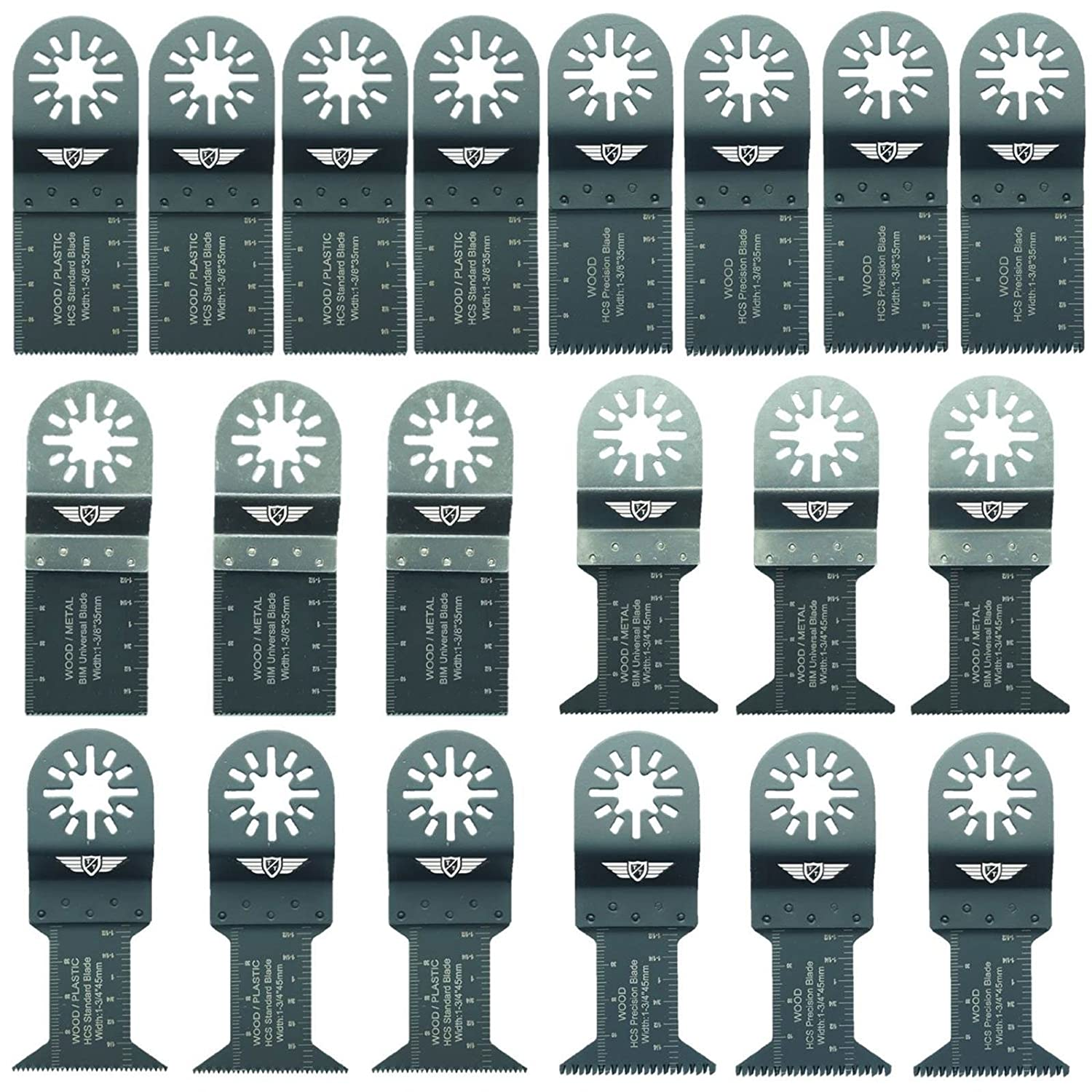 20 x TopsTools UNK20 OMT Mix Blades for Bosch, Fein Multimaster, Multitalent, Makita, Milwaukee, Einhell, Ergotools, Hitachi, Parkside, Ryobi, Worx, Workzone Multitool Multi Tool Accessories