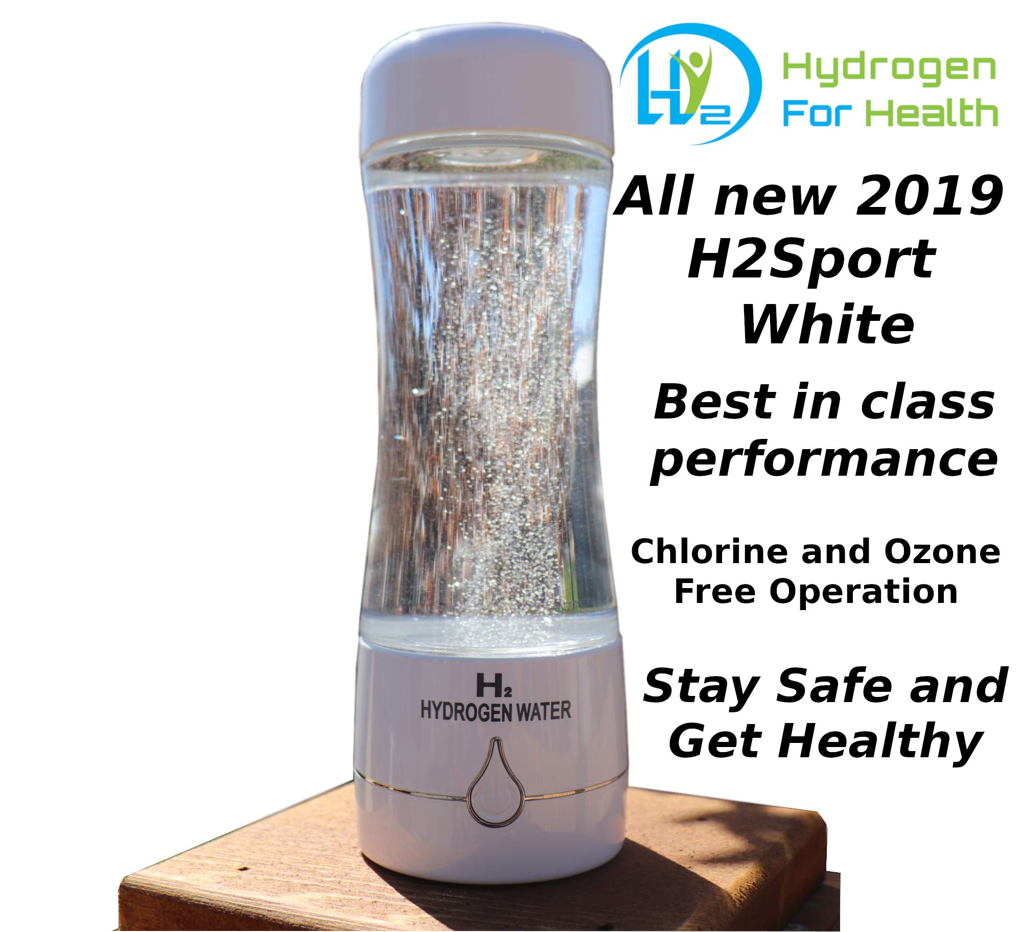 H2 Sport White Hydrogen Water Bottle Generator with PEM Dual Chamber Technology. New for 2019