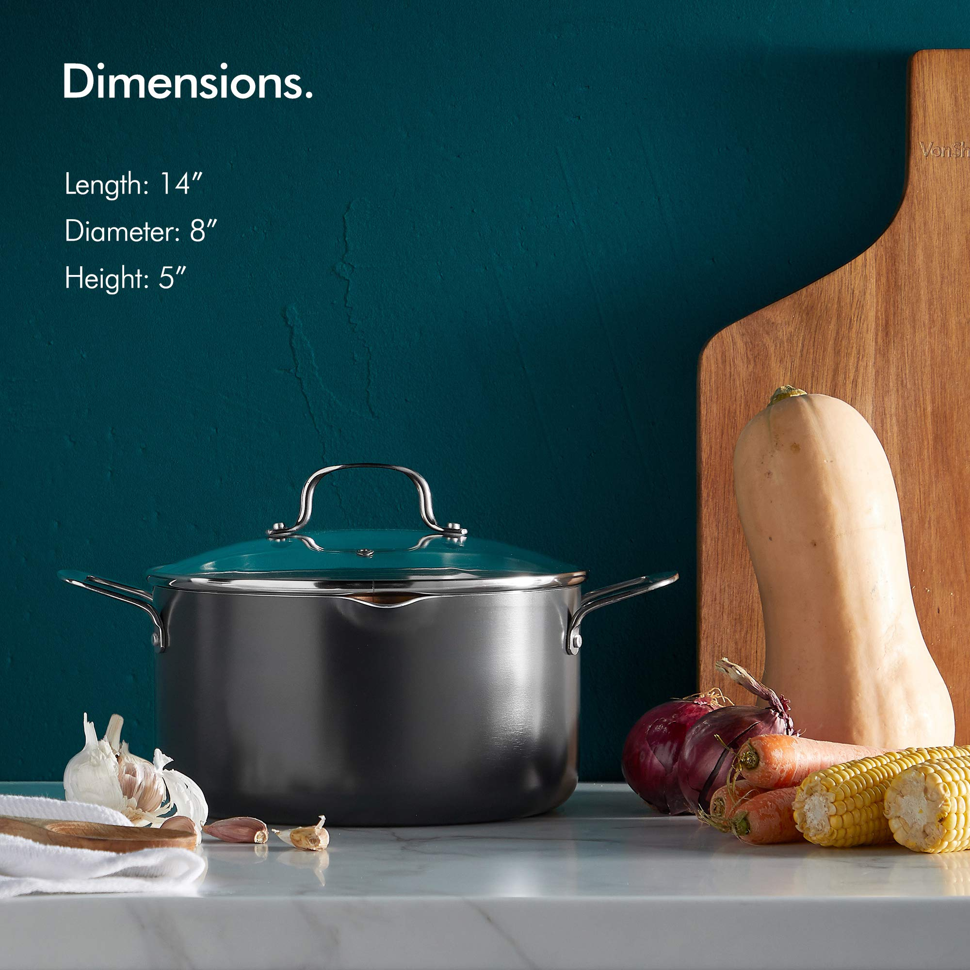 VonShef Casserole and Pasta Multi Pot with Strainer Lid, Easy Clean, Non-Stick Copper-Colored Interior, Stainless Steel Handles and Tempered Glass Lid, Induction Hob Ready, Copper, 5 Quart Capacity by VonShef (Image #2)