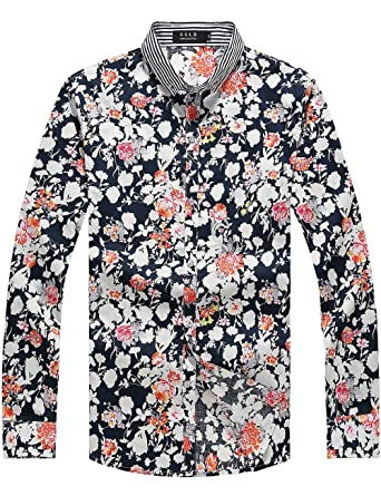 SSLR Men's Summer Floral Cotton Long Sleeve Casual Button Down ...