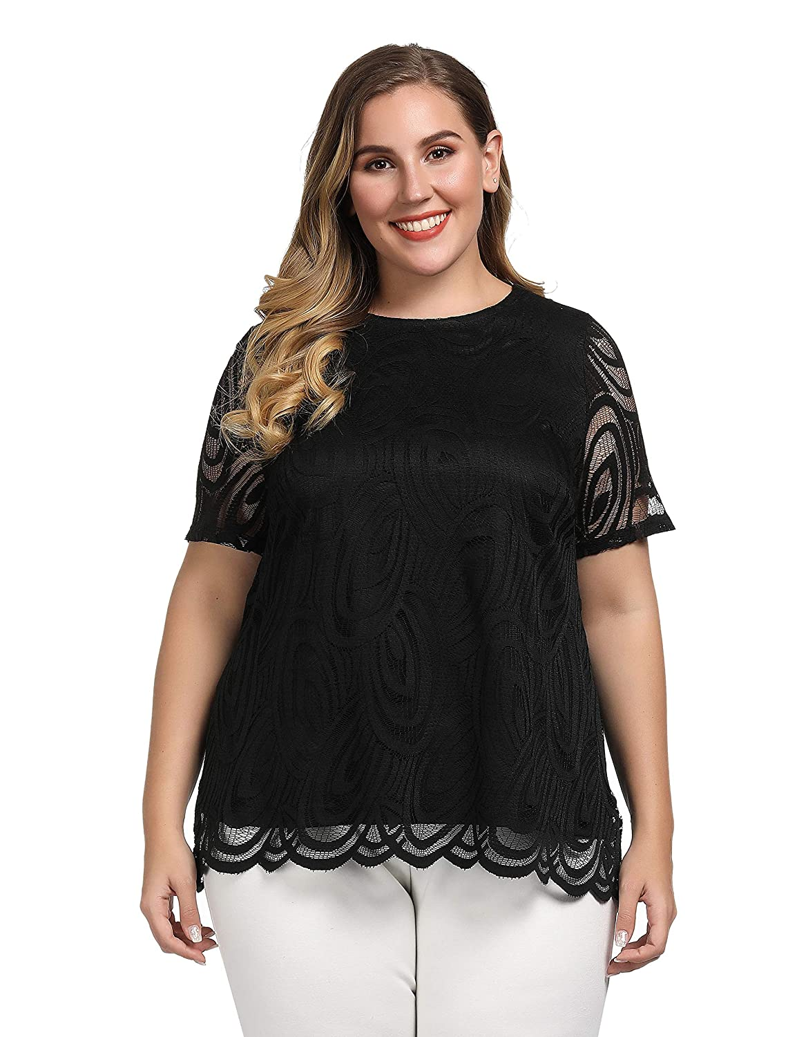Casual and Work Blouse Chicwe Womens Plus Size Scalloped Lace Solid Top