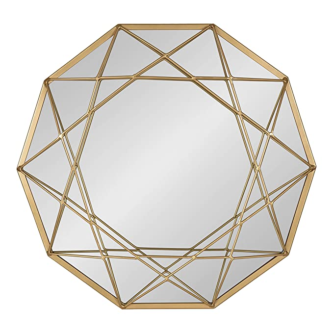 Kate and Laurel Keyleigh Modern Glam Geometric Shaped Metal Accent Wall Mirror, Satin Gold