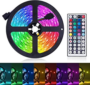 LED Strip Lights, 16.4ft RGB LED Light Strip 5050 LED Tape Lights, Color Changing LED Rope Lights with Remote for Home Lighting Kitchen Bed Flexible Strip Lights for Bar Home Car Decoration