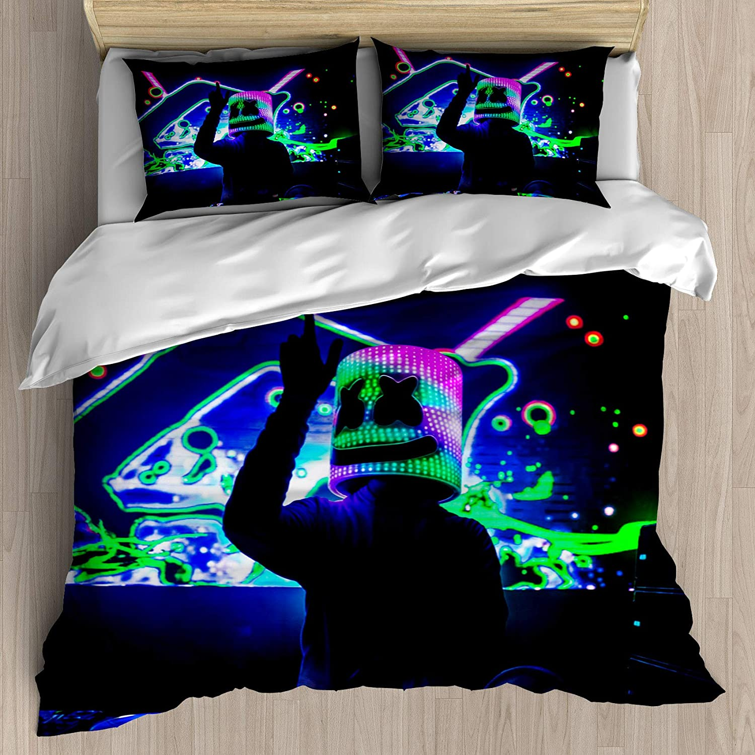 FEIDANNO DJ Marshmallow Duvet Cover Set Twin Size,DJ and Gorgeous Stage Live Print,Decorative 2 Piece Bedding Set with 1 Pillow Sham.(Multicolor,Twin)