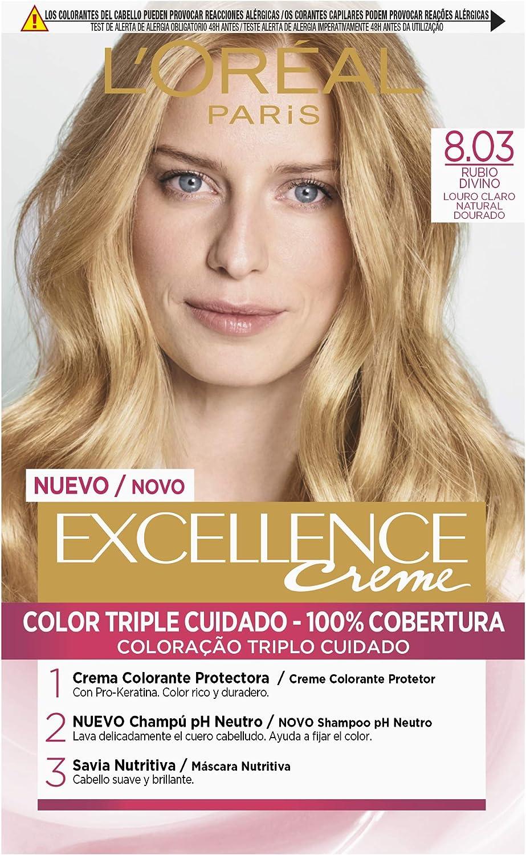 LOréal Paris Excellence Coloración Crème Triple Protección Rubios de Leyenda 8.03 Rubio Divino