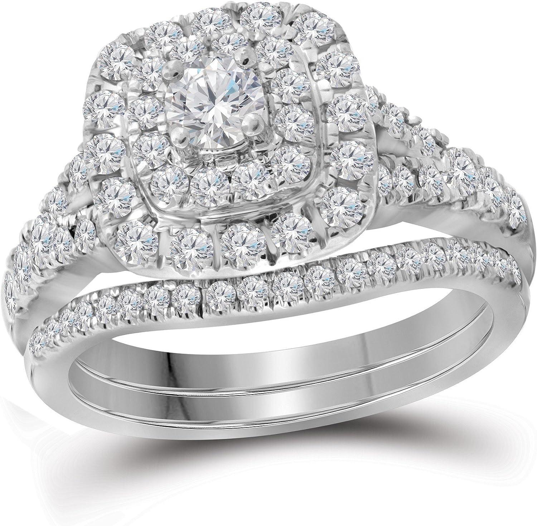 Anillo de compromiso de Lux de oro blanco de 14 quilates con diamante redondo Bellissimo, doble halo para novia, 1,00 quilates = 1 claridad I1, color G-H, talla 10