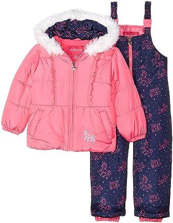 7e5b22f01 London Fog Girls Snowsuit with Snowbib and Puffer Jacket Snowsuit ...