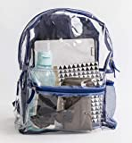 Clear Transparent Backpack PVC Adjustable Straps Carry Handle Zippered Pockets Material Back Lightweight Waterproof Sturdy