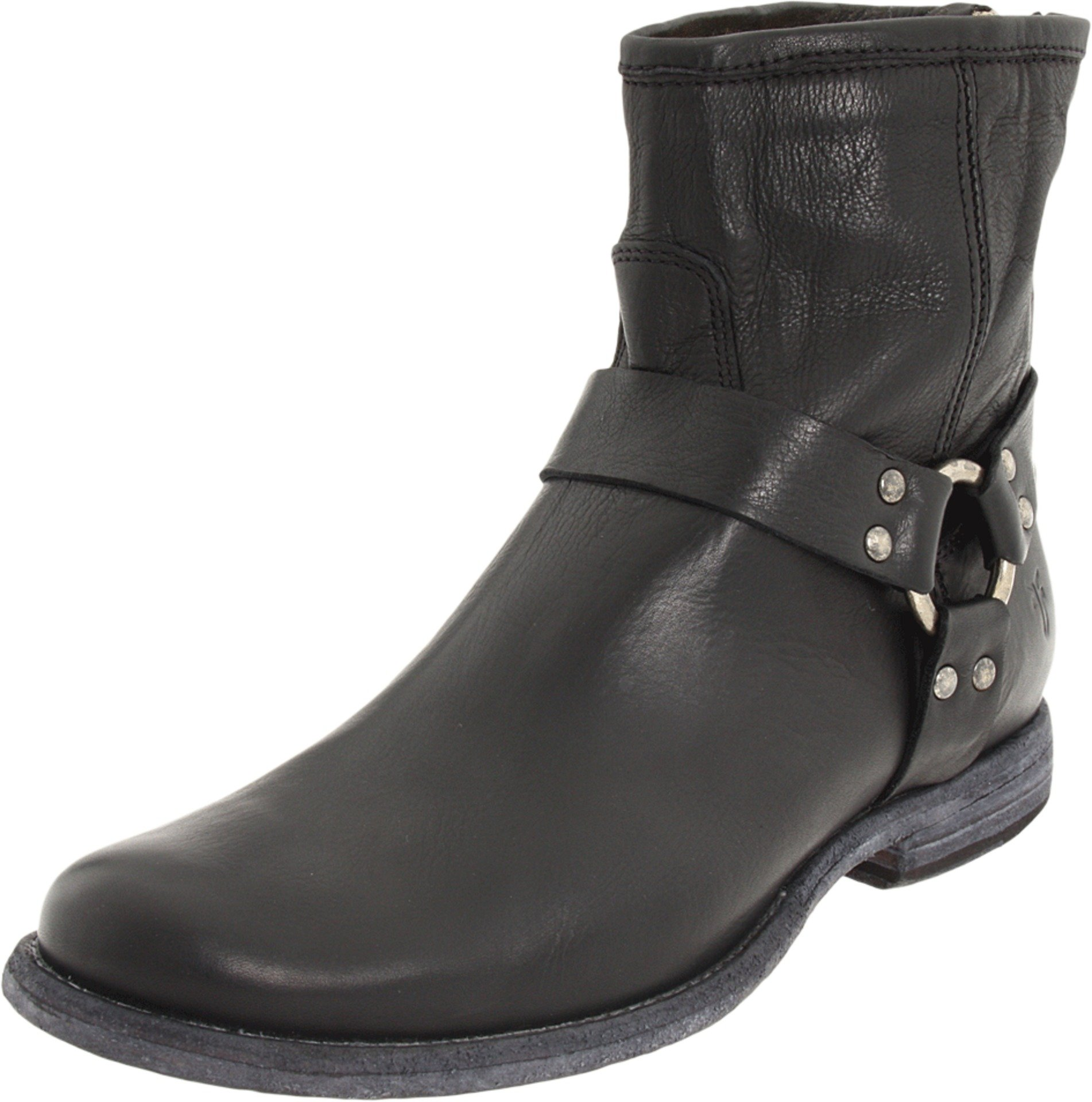 FRYE Women's Phillip Harness Ankle Boot, Black Soft Vintage Leather, 6 M US
