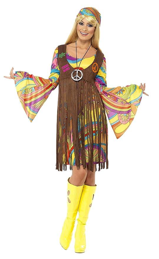 Smiffy\u0027s , Costume per travestimento da Hippy anni \u002760, Donna, incl. abito