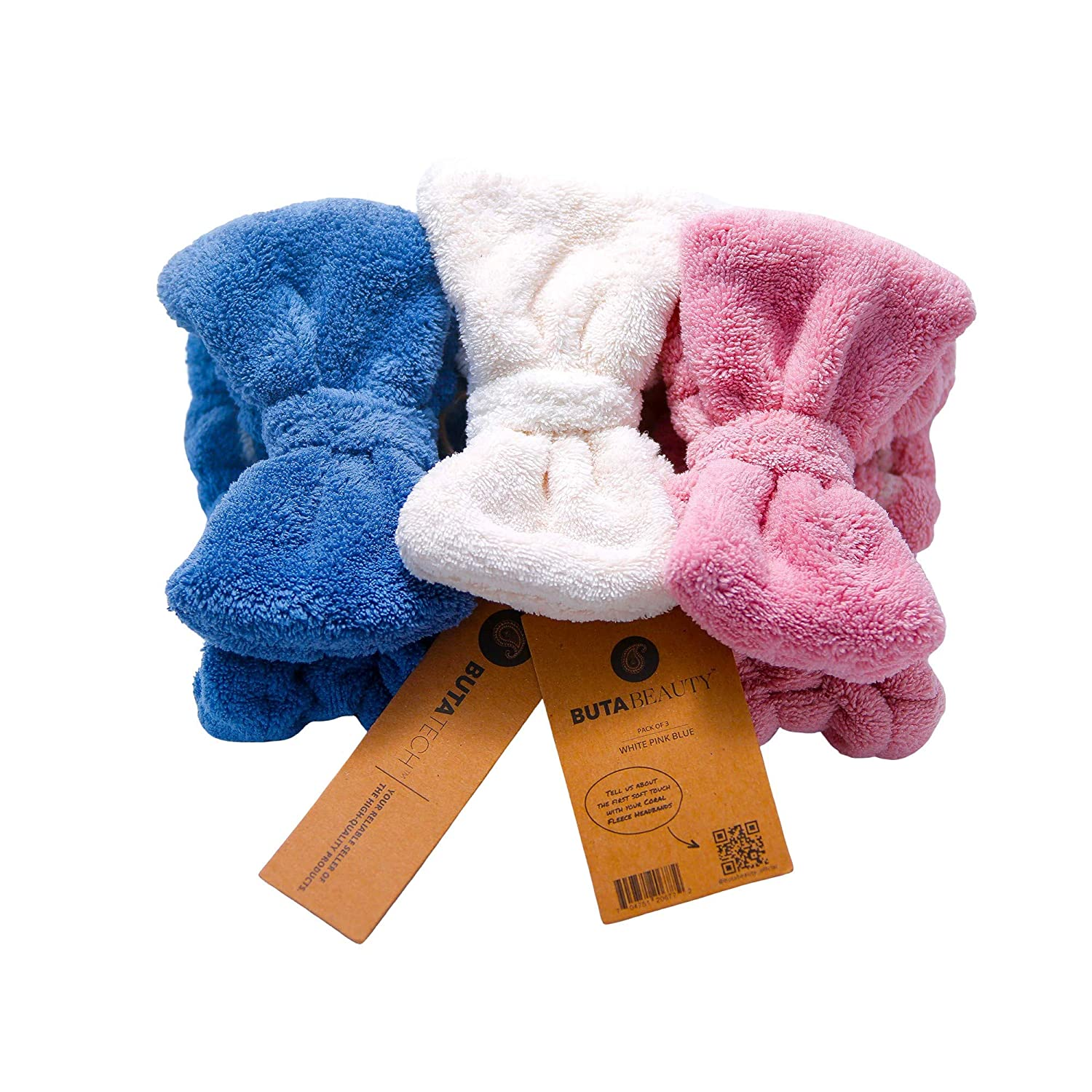 Buta Beauty makeup headband - Towel headband for washing face made with terry cloth available in 3 colors (Pack of 3, White Blue Pink)