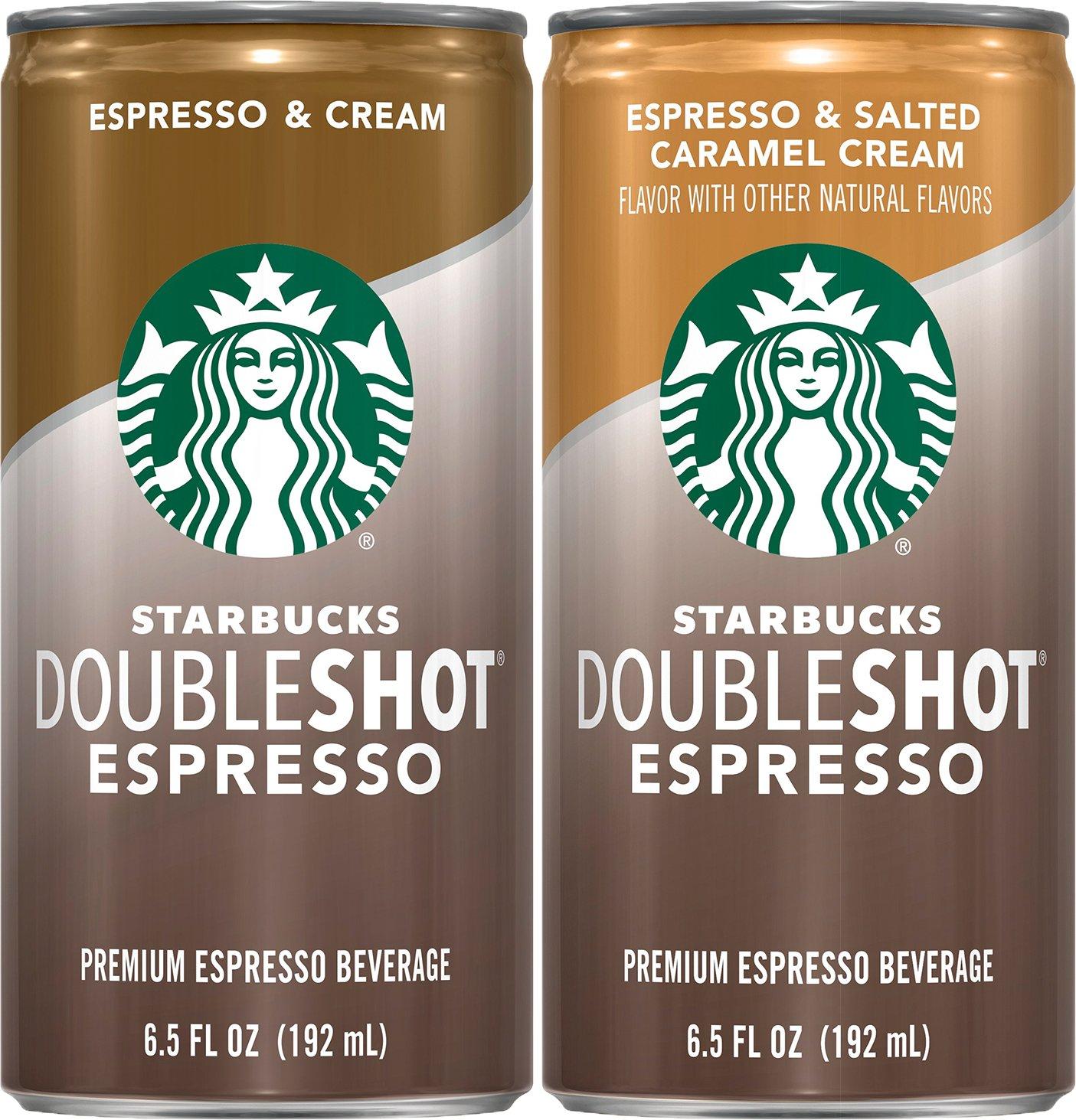 Starbucks, Doubleshot Espresso Beverage, Variety Pack (Espresso & Cream/Espresso/Salted Caramel Cream), 6.5 fl oz. cans (12 Pack) by Starbucks