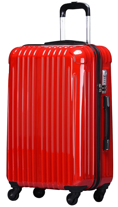ラッキーパンダ スーツケース TY001 ハード 超軽量 TSAロック ファスナータイプ 機内持込 B01AA20Q38 Mサイズ(4~6日の旅行向け)|レッド レッド Mサイズ(4~6日の旅行向け)