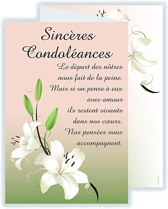 modèle de carte de condoléances afie 69 3925 Carte 3 Volets Sincères Condoléances avec enveloppe
