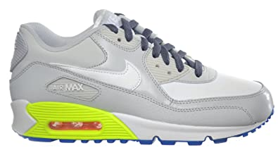 820afebe37 ... Nike Air Max 90 (GS) Big Kids Running Shoes White Grey Blue ...