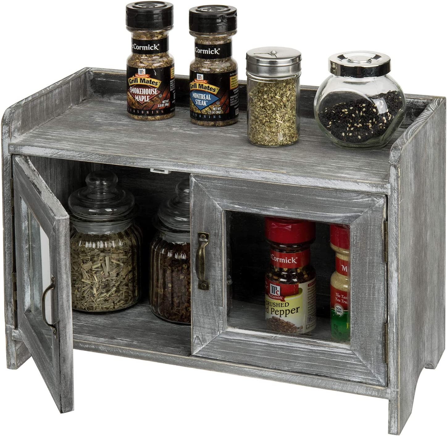 MyGift Rustic Gray Whitewashed Wood Kitchen/Bathroom Counter Top Storage Cabinet with Glass Windows