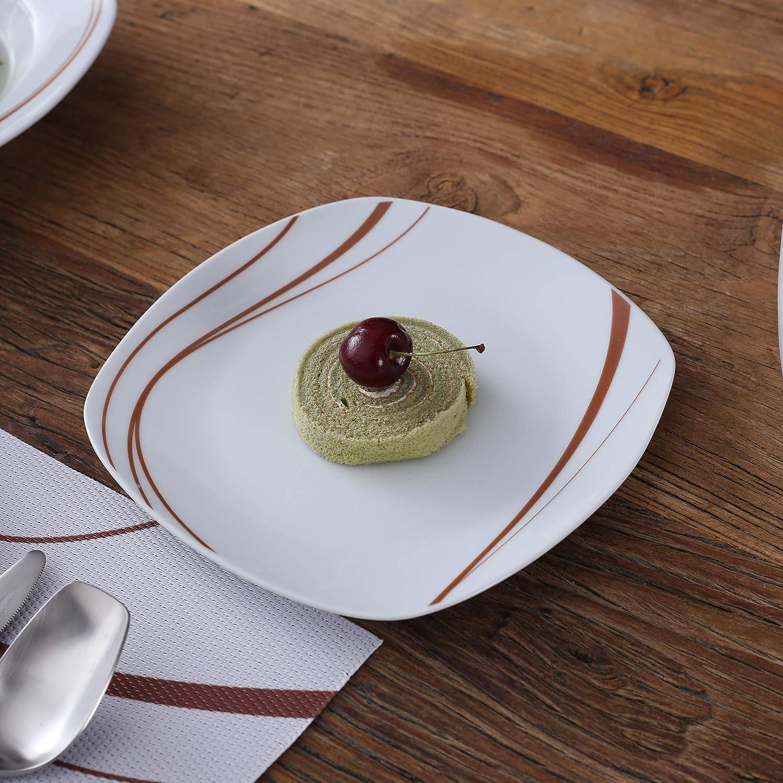 9.75 Dinner Plates for 12 8.5 Soup Plates VEWEET Karla 36-Piece Ivory White Porcelain Black Stripes Dinner Plate Set of 7.5 Dessert Plates