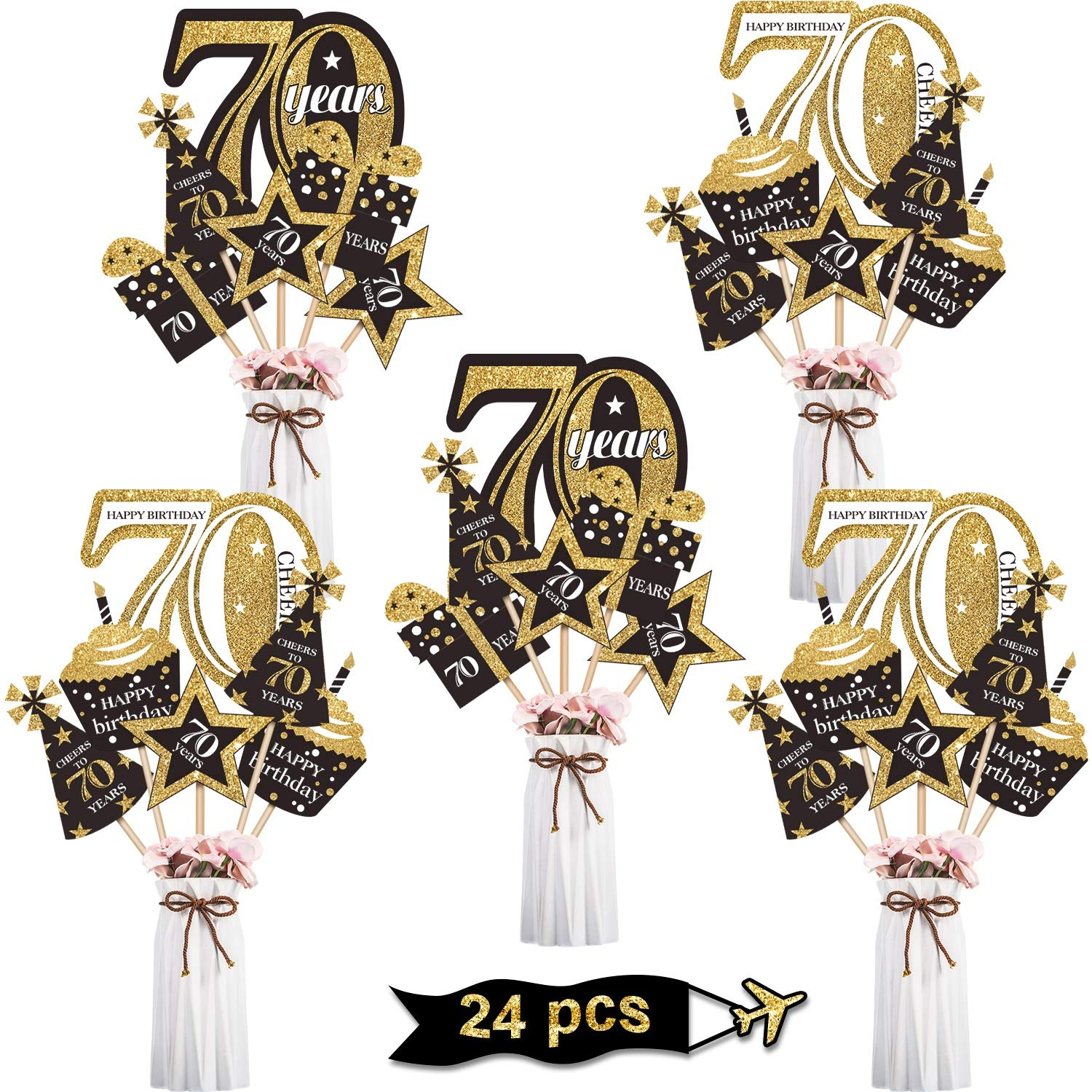 Blulu Birthday Party Decoration Satz Golden Birthday Party Centerpiece Sticks Glitter Table Toppers Party Supplies, 24 Pack (70Th Birthday)