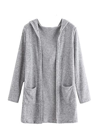 60cf1eda8 Romwe Women s Open Front Casual Long Sleeve Knit Cardigan Sweater ...