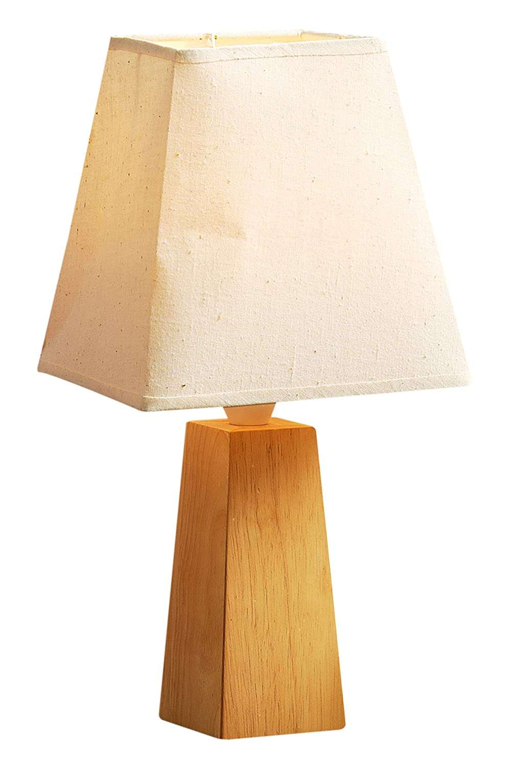 Premier Housewares Rubberwood Cone Table Lamp with Square Cream ... for Square Wood Lamp Shade  75tgx