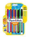 PaperMate InkJoy 100 CAP Capped Ball Pen with 1.0 mm Medium Tip - Assorted Fun Colours, Pack of 8 + 2