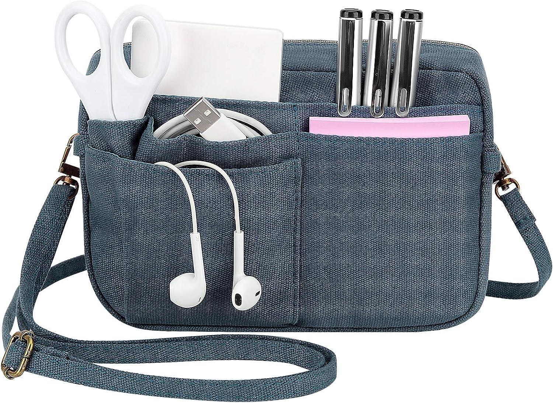 Dadanism Purse Bag Organizer Insert, 2-in-1 Canvas Multi-Pocket Bag Organizer with Zipper, Handbag & Tote Organizer, Bag in Bag, Toiletry Bag, Crossbody Bag with Adjustable Shoulder Strap - Indigo
