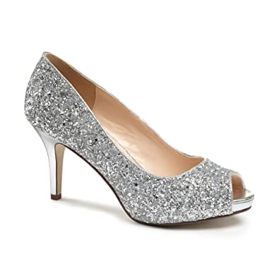 Paradox London Pink Sparkly Glitter Riley Peep Toe Platform Party Shoes -  Silver - UK 9 d841651833