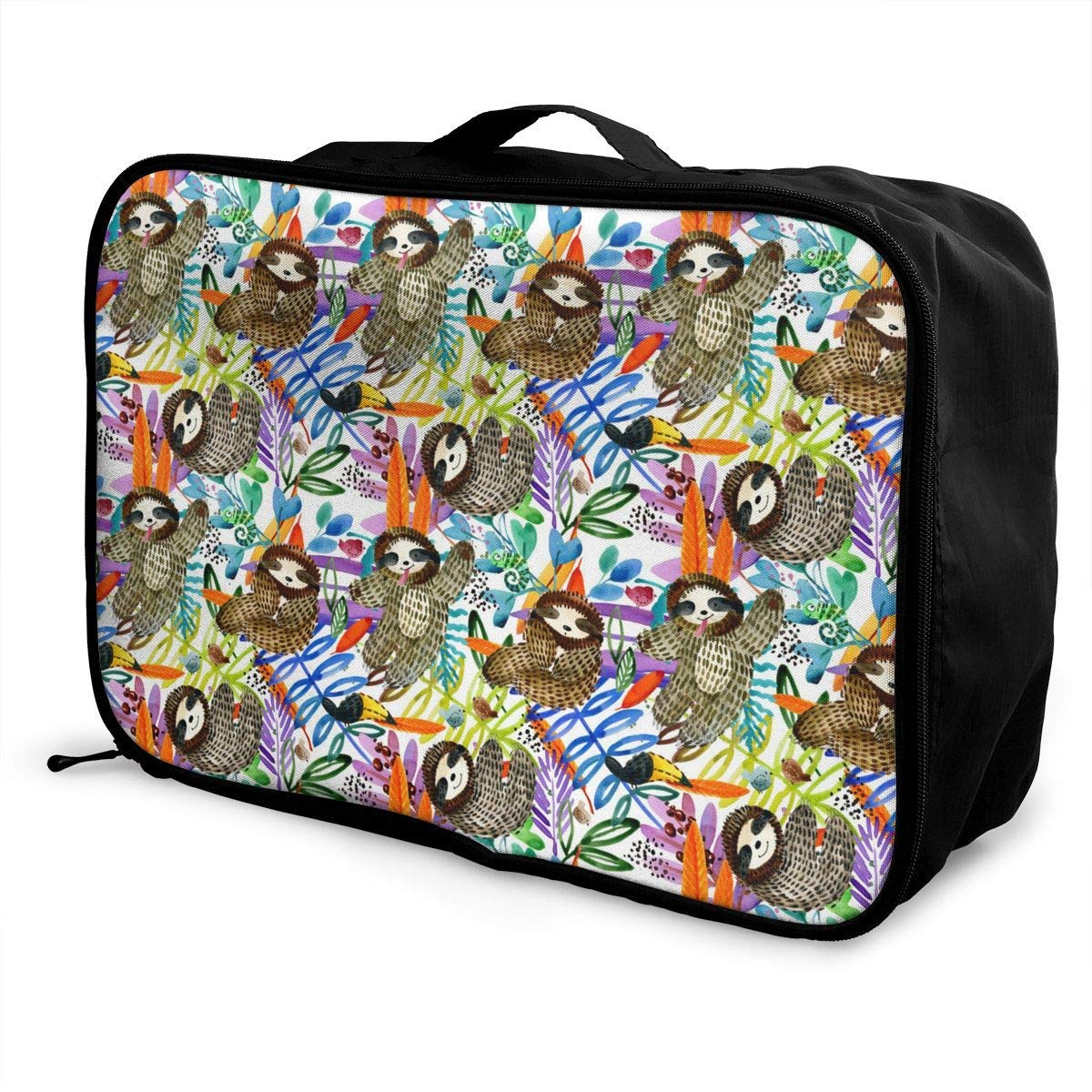 Portable Luggage Duffel Bag Tiger And Flower Travel Bags Carry-on In Trolley Handle
