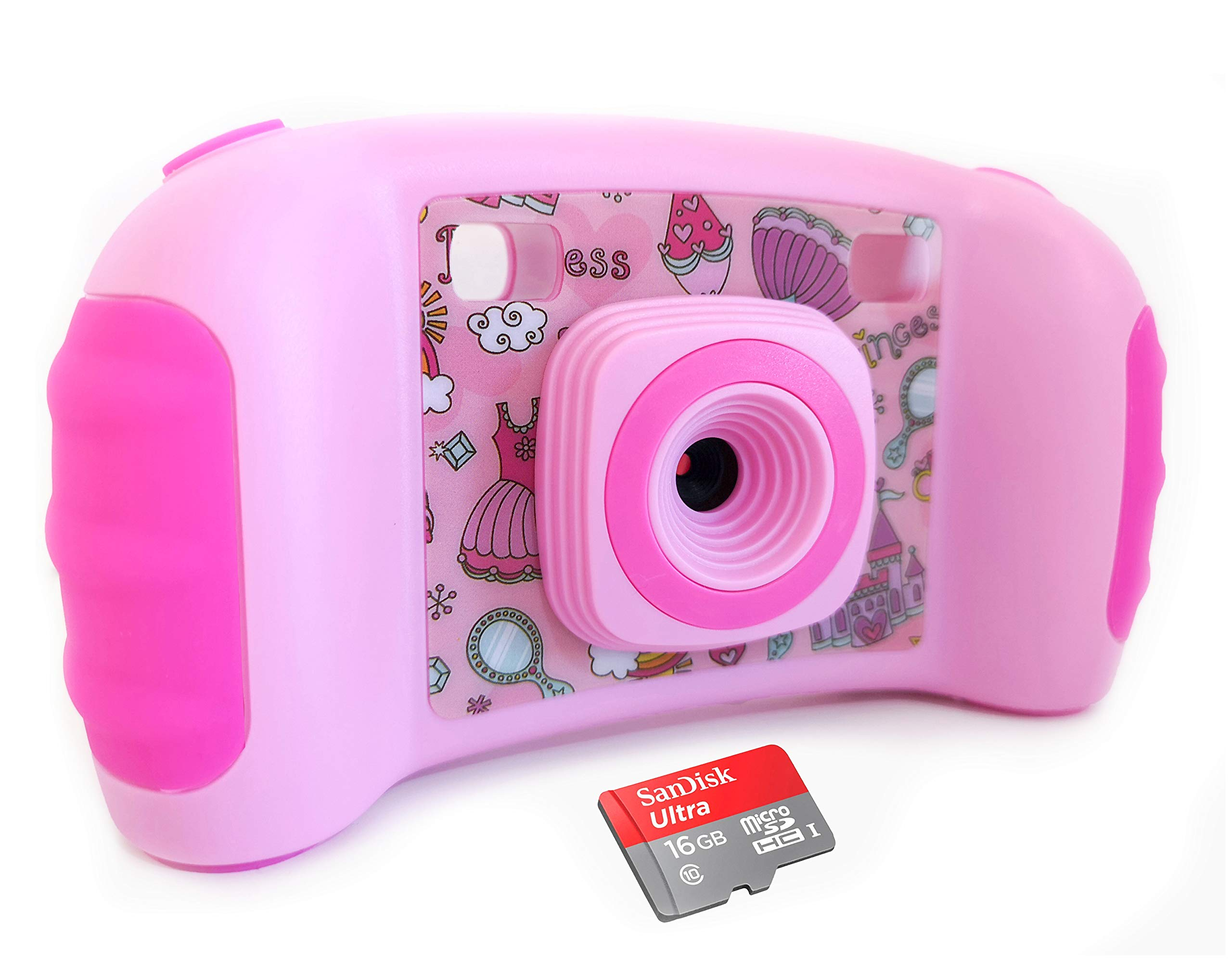 Vetté Digital Camera for Kids with 16GB MicroSD Card - Multifunctional Kids Camera - 2X Zoom, 720 HD Video Quality, 1.8 TFT LCD Screen,Games, Frames, Photo Editing and Voice Recorder Camera (Pink)