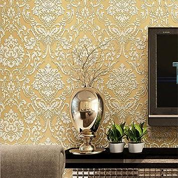 Hu0026M Tapete Dicker Damastart Luxus Europa 3D Relief Vlies Dekoration  Wohnzimmer Restaurant TV Wand Schlafzimmer Tapete