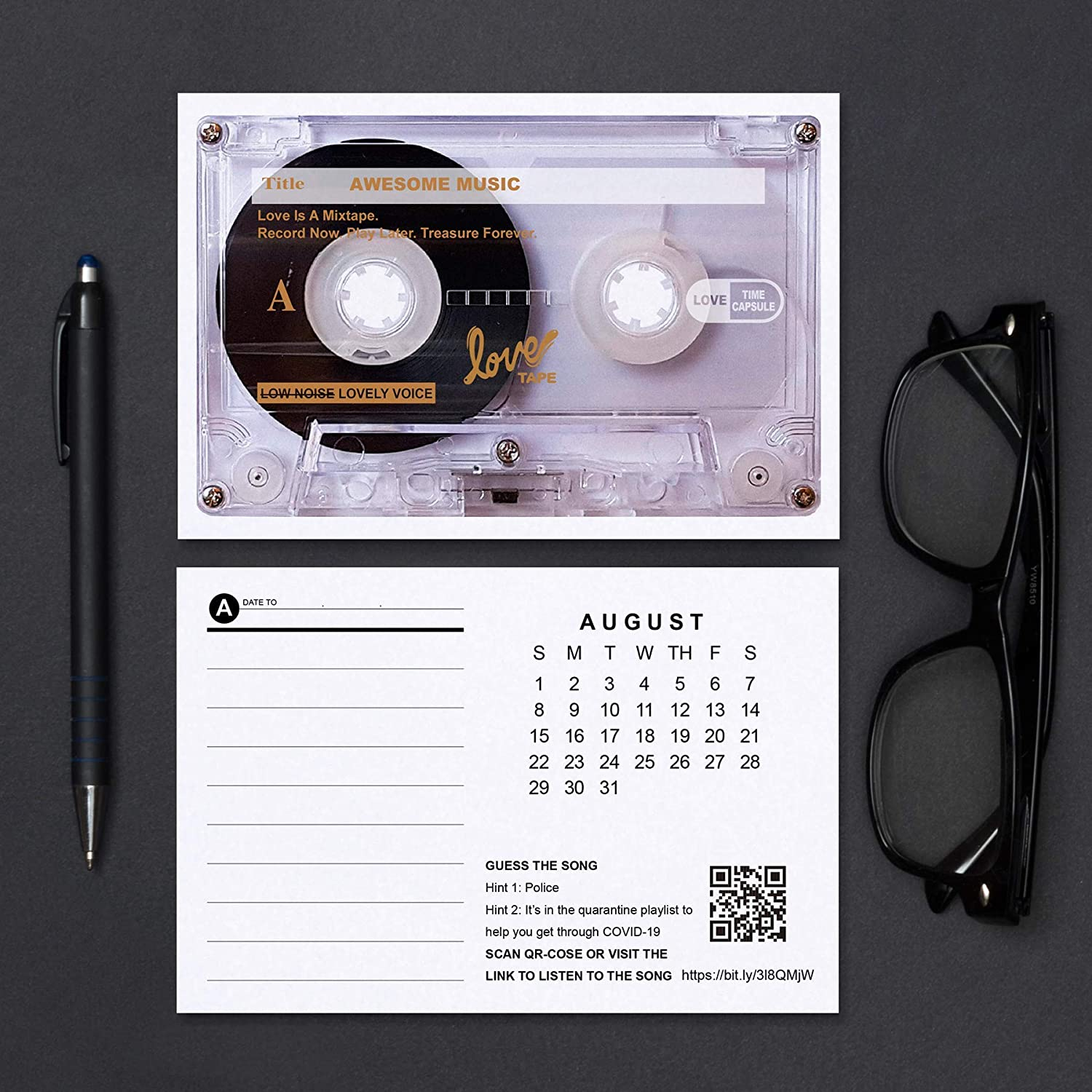 2021 Awesome Music Mixtape Mini Desk Calendar Retro Cassette Christmas Holiday Gift and Decoration 60s 70s 80s 90s Songs in Vintage Tape Shape for Music Lover C24