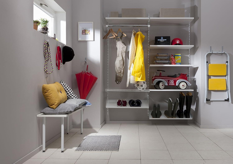 White Set of 2 Size 4 Element System 1 Length 50 cm Shelf Brackets for Shelving Unit Row Wall Rail 3 Colours 10000 00005 Aluminium